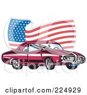 Royalty Free RF Clipart Illustration Of A Pontiac Car And Wavy American Flag Logo