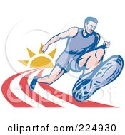 Royalty Free RF Clipart Illustration Of A Marathon Runner On A Track Logo by patrimonio