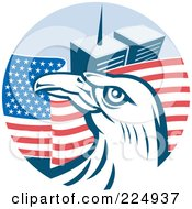 Royalty Free RF Clipart Illustration Of A Bald Eagle Head Over An American Flag And The World Trand Center Towers