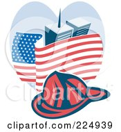 Royalty Free RF Clipart Illustration Of A Red Fire Department Helmet Over The American Flag And World Trade Center Towers