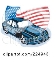 Royalty Free RF Clipart Illustration Of A Ford GT V8 And Wavy American Flag Logo