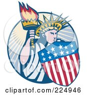 Royalty Free RF Clipart Illustration Of A Retro Statue Of Liberty With An American Shield And Torch Logo by patrimonio