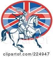 Royalty Free RF Clipart Illustration Of A Retro Knight Knight On Horseback And British Flag Logo