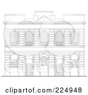 Royalty Free RF Clipart Illustration Of A Building Facade Sketch 3 by patrimonio
