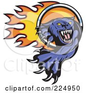 Royalty Free RF Clipart Illustration Of A Purple Panther Pawing Fire Through A Ring Logo