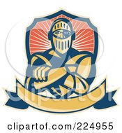 Royalty Free RF Clipart Illustration Of A Retro Knight With Crossed Arms A Banner And Shield Logo by patrimonio #COLLC224955-0113