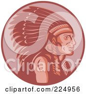 Royalty Free RF Clipart Illustration Of A Retro Red Chief Logo by patrimonio