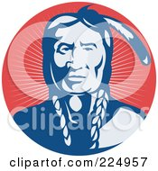 Royalty Free RF Clipart Illustration Of A Retro Blue And Red Chief Logo by patrimonio