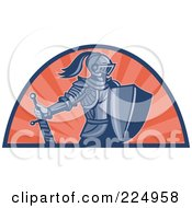Royalty Free RF Clipart Illustration Of A Retro Knight With Shield And Sword Logo