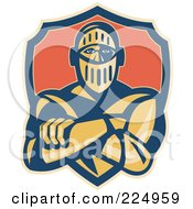 Royalty Free RF Clipart Illustration Of A Retro Knight With Crossed Arms And A Shield Logo