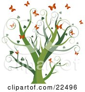 Clipart Illustration Of A Curly Green Tree With Heart Leaves Surrounded By Fluttering Orange Butterflies On A White Background