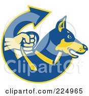 Royalty Free RF Clipart Illustration Of A Blue And Yellow Security Dog And Arrow Logo by patrimonio