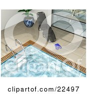 Clipart Illustration Of A Chaise Lounge By A Potted Plant And Window With Flip Flops On The Tiles Around An Indoor Swimming Pool by KJ Pargeter