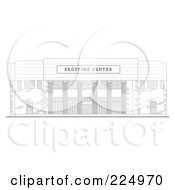 Royalty Free RF Clipart Illustration Of A Strip Mall Facade Building Sketch 1 by patrimonio