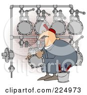 Poster, Art Print Of Worker Man Changing A Gas Meter Header By A Brick Wall