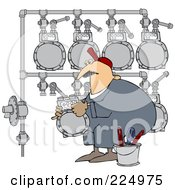 Royalty Free RF Clipart Illustration Of A Gas Man Changing A Meter Header by djart