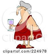 Senior Woman In Red Lingerie Carrying A Glass Of Wine