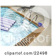 Clipart Illustration Of A Float On The Water Of A Swimming Pool Near A Ladder Flip Flops And A Chaise Lounge