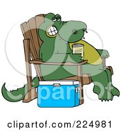 Relaxed Alligator Sitting In An Adirondack Chair And Drinking A Canned Beverage By A Cooler