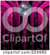 Royalty Free RF Clipart Illustration Of A Pink And Black Disco Ball Music Background