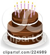 Layered Chocolate Cake With White Filling And Fudge Frosting With Candles On Top