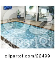 Clipart Illustration Of Two Chaise Lounges By An Indoor Swimming Pool With Large Windows Looking Out Onto A Patio