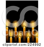 Royalty Free RF Clipart Illustration Of A Background Of Glowing Yellow Candles Over Black by elaineitalia