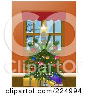 Royalty Free RF Clipart Illustration Of A Trimmed Christmas Tree With Presents By A Window by elaineitalia