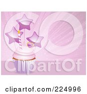 Royalty Free RF Clipart Illustration Of A Pink Frosted Cupcake With A Heart Candle And Star Balloons Over Pink by elaineitalia