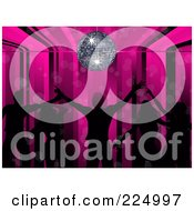Royalty Free RF Clipart Illustration Of Silhouetted Dancers On A Pink Stripe And Disco Ball Background by elaineitalia