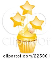 Cupcake With Yellow Frosting A Heart Star Balloons And Candle
