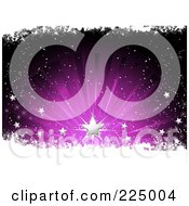 Royalty Free RF Clipart Illustration Of A Silver Christmas Star Over Grungy Snow And A Purple Burst