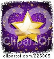 Royalty Free RF Clipart Illustration Of A Golden Banner Over A Star On Purple With Stars And White Grunge