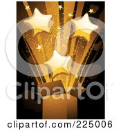 Royalty Free RF Clipart Illustration Of A Burst Of Golden Stars And Light Exploding From A Box by elaineitalia
