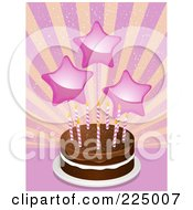 Royalty Free RF Clipart Illustration Of Pink Star Balloons Over A Chocolate Birthday Cake Over A Burst by elaineitalia