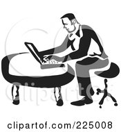 Royalty Free RF Clipart Illustration Of A Black And White Thick Line Drawing Of A Man Using A Laptop by Prawny