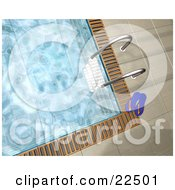 Clipart Illustration Of A Ladder And Pair Of Flip Flops At The Edge Of A Swimming Pool With Rippling Water