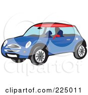 Royalty Free RF Clipart Illustration Of A Blue Mini Car