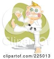 Royalty Free RF Clipart Illustration Of A Karate Boy Kicking