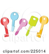 Royalty Free RF Clipart Illustration Of A Digital Collage Of Red Blue Purple Green And Orange Keys by Prawny