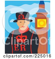 Royalty Free RF Clipart Illustration Of A London Guard By Big Ben