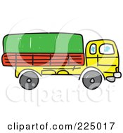 Royalty Free RF Clipart Illustration Of A Sketched Yellow Lorry Big Rig Truck