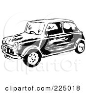 Royalty Free RF Clipart Illustration Of A Black And White Mini Car