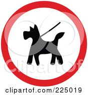 Royalty Free RF Clipart Illustration Of A Red And White Round Dog On Leash Sign