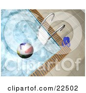 Clipart Illustration Of A Pair Of Flip Flops And A Ladder At The Edge Of A Swimming Pool With A Colorful Beach Ball Floating On The Water by KJ Pargeter
