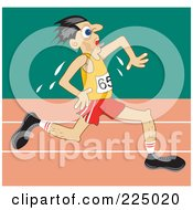 Royalty Free RF Clipart Illustration Of A Sweaty Man Running On A Track by Prawny