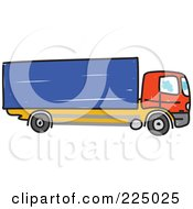 Royalty Free RF Clipart Illustration Of A Sketched Red And Blue Lorry Big Rig Truck