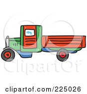 Royalty Free RF Clipart Illustration Of A Sketched Green Red And Blue Lorry Big Rig Truck