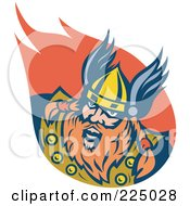 Royalty Free RF Clipart Illustration Of A Retro Viking Man Logo