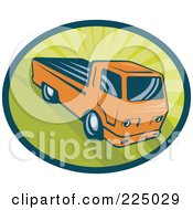 Royalty Free RF Clipart Illustration Of A Retro Orange Pickup Truck On Green Logo by patrimonio